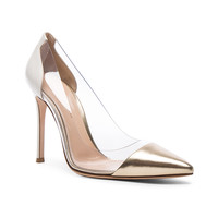 Gianvito Rossi Leather Plexi Pumps in Mekong & Off White | FWRD