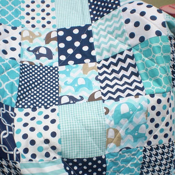 Baby quilt,Baby boy quilt,teal,navy blue,aqua,chevron,Patchwork crib quilt,baby boy bedding,elephant baby blanket,woodland,modern,Ellie Blue