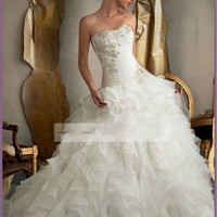 2014 New white A-line Organza sweetheart wedding dress bridal gown custom size 6 8 10 12 14 16