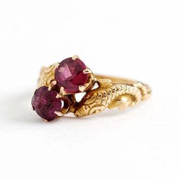Antique 14k Rosy Yellow Gold Rhodolite Garnet Serpent Ring - Vintage Size 5 1/4 Edwardian Purple Pink Gem Early 1900s Fine Figural Jewelry