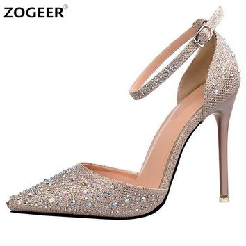 Luxury Crystal Women Pumps High Heels Sexy Ankle Strap Mary Janes OL Shoes Woman Point