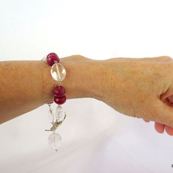 Large ruby bracelet with crystal quartz stations, ruby tennis bracelet, fine jewelry