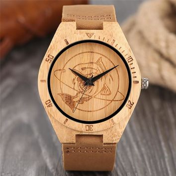 Men's Wooden Wrist Watch Casual Dress Style Engraved Fish Handicraft Dial Light Bamboo Wood Gifts Genuine Leather