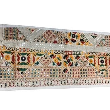 Mogul Banjara Table Runner Ivory Embroidered Southern Style Table Decoration 60x20 - Walmart.com