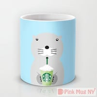 Personalized mug cup designed PinkMugNY - I love Starbucks - Sea Otter