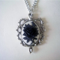 Rose Cameo with Thorns Necklace