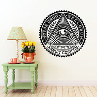 All Seeing Eye Wall Decal Illuminati Eye Annuit Coeptis Wall Decals Vinyl Sticker Interior Home Decor Vinyl Art Wall Decor Bedroom SV5840