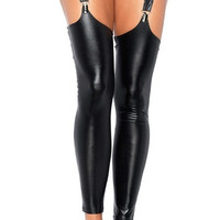 Black Tigh Latex Stockings Faux Leather Wet Look Vinyl Fetish Stocking With 4 Clips sexy stockings for female women's dress