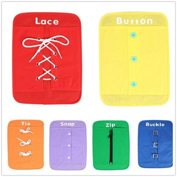 6 pcs/set Early Kids Learning Basic Life Essential Skills toys Learn to Dress Boards Early Education Teaching Aid Baby Gifts