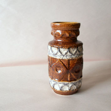 MID CENTURY MODERN Lovely West Germany Bay Ceramic Pottery Umber Gray and Cream Pattern Vessel Circa 1970s Brutalist Style