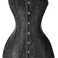 Long Line Corset Black Overbust Long Torso Waist Trainer