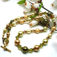 Soft Autumn MultiColor Shell Pearl and Swarovski Crystal Gold Necklace