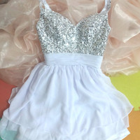 Sexy White Sweetheart Chiffon Prom Beadings Dress
