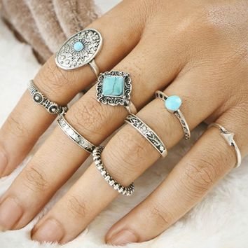 1Set Hot sale Punk Vintage Knuckle Rings Tribal Ethnic Hippie Stone Joint Ring Set for Women
