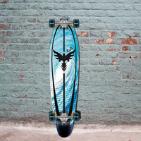 "Graphic Kicktail Longboard- Pipeline - from Punked 40"" - Complete"