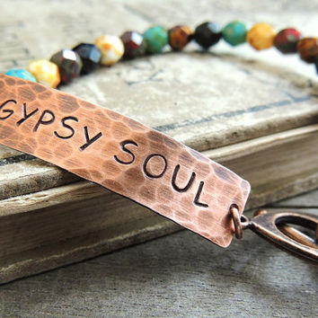 Gypsy Soul Beaded Bracelet, Boho Bracelet, Colorful Beads, Hand Stamped Copper, Free Spirit