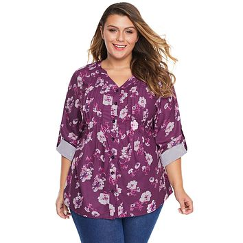 Rose Floral Pintuck Blouse