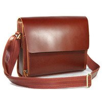 Elite Leather Bags — Handmade Genuine Leather Messenger Satchel Bag / Case in reddish brown Smooth Cowhide