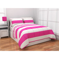 Walmart: Latitude Rugby Stripe Reversible Complete Bedding Set, Pink