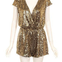 Bling It On Sequin Romper - GOLD
