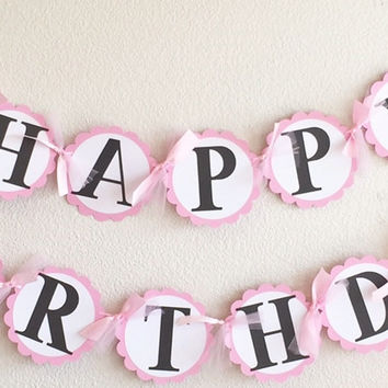 Light Pink White Polka Dot Minnie Mouse Happy Birthday Banner