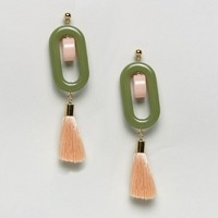 ASOS Pastel Resin Tassel Drop Earrings at asos.com