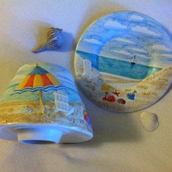 Beach Theme Candle Topper and Dish Vintage Yankee Candle Ceramic Beach Scene Candle Shade and Matching Plate Seashore Ocean Candle Holder