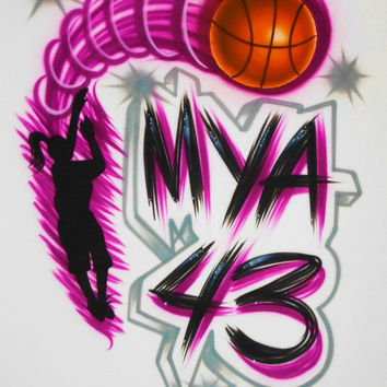Airbrush T Shirt Basketball Player Name Number, Airbrush Basketball Shirt, Basketball Shirt, Basketball Player Shirt, Airbrush Shirt