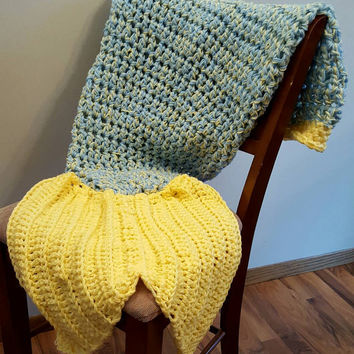 Light Blue and light yellow Mermaid Tail Blanket. Made by Bead Gs on ETSY. Child size. mermaid tail