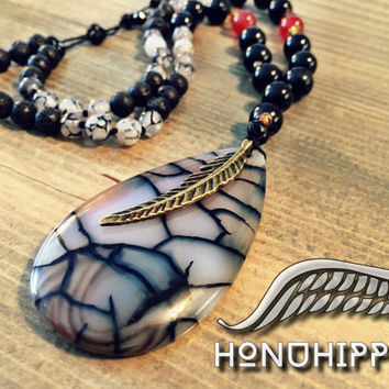 Bohemian jewelry , boho hippie necklace , dragon vein agate feather pendant
