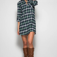 Mad For Plaid Dress- Blue/Green
