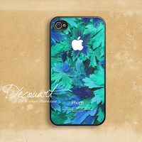 iPhone 4 case, iPhone 4s case, case for iPhone 4, turquoise floral pattern with apple logo B295