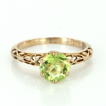 Peridot Solitaire Filigree Vintage Ring 10k Yellow Gold Engagement