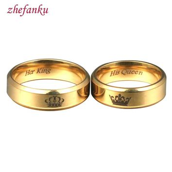 Cool His Queen Her King LOVES 6mm Wide Simple Ring For Lovers  Fashion Womens Dating Jewelry For Couple LoversAT_93_12