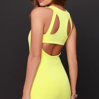 Bright to Party Chartreuse Bodycon Dress