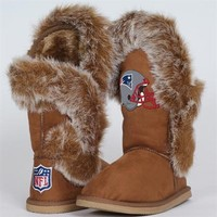 Cuce Shoes New England Patriots Ladies Fanatic Boots - Tan