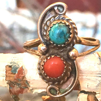 Navajo, Ring, Coral, Turquoise, Boho Rings, Jadeite, Sterling Silver, Gypsy, Vintage Jewelry, Hippie