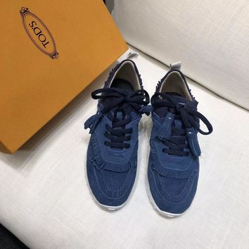 DCCK 1632 TOD'S  tods Breathable mesh cloth Casual Sports Shoes Blue