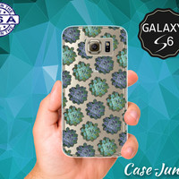 Plant Succulent Pattern Hipster Tumblr Inspired Cute Blue Case for Clear Rubber Samsung Galaxy S6 and Galaxy S6 Edge Galaxy S7 and S7 Edge
