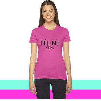 celine paris feline meow women T-shirt