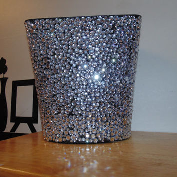 Rhinestoned garbage can black bedazzled glitter sparkly decorative