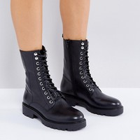 Vagabond Kenova Black Leather Flat Utility Boots at asos.com
