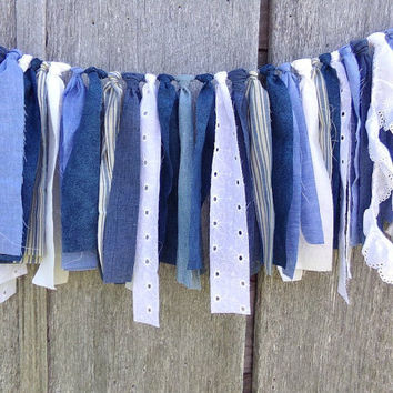 Denim Rustic Wedding Garland, 4 Ft Boho Tattered Fabric Banner, Blue & White Photo Prop Backdrop