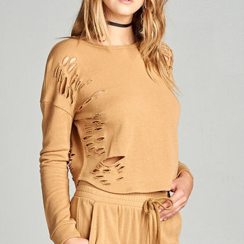 Distressed French Terry Sweater - Mustard