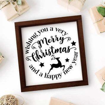 Merry Christmas Deer Framed Sign