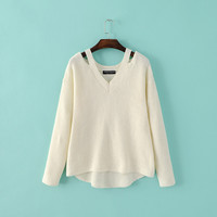 Summer Strapless V-neck Long Sleeve Knit Sweater [8173576967]