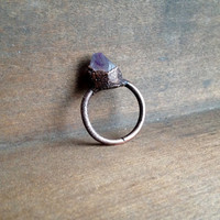 Amethyst Point Ring - Raw Stone - February Birthstone - Electroformed Ring - Unique Ring - Copper - Semiprecious Stone - Size 9