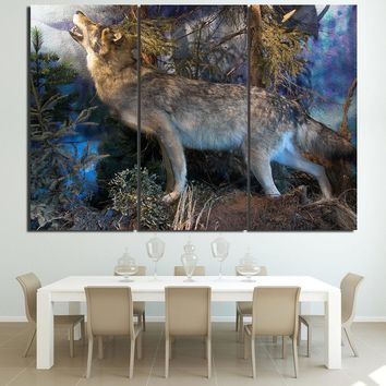 5 PcsHowling Wolf  Wolves Wall Art Canvas Panel Print Picture Poster Living Room