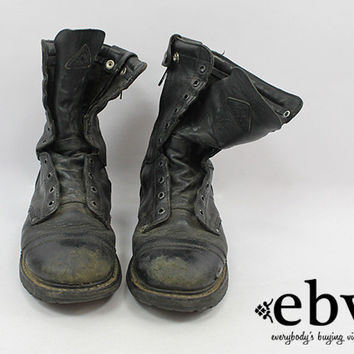 Vintage 90s Grunge Leather Combat Boots Men's Combat Boots 9.5 Women's Combat Boots 11 Grunge Boots Work Boots Lace Up Boots