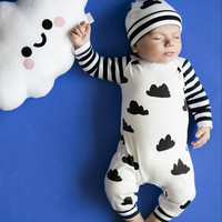 2017 Autumn baby boy girl clothes unisex white Clouds cotton long-sleeved baby romper + hat jumpsuit newborn baby clothing set